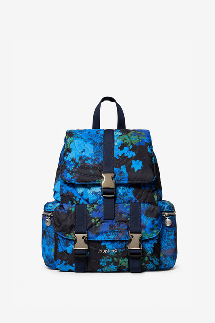 Padded backpack with floral camouflage