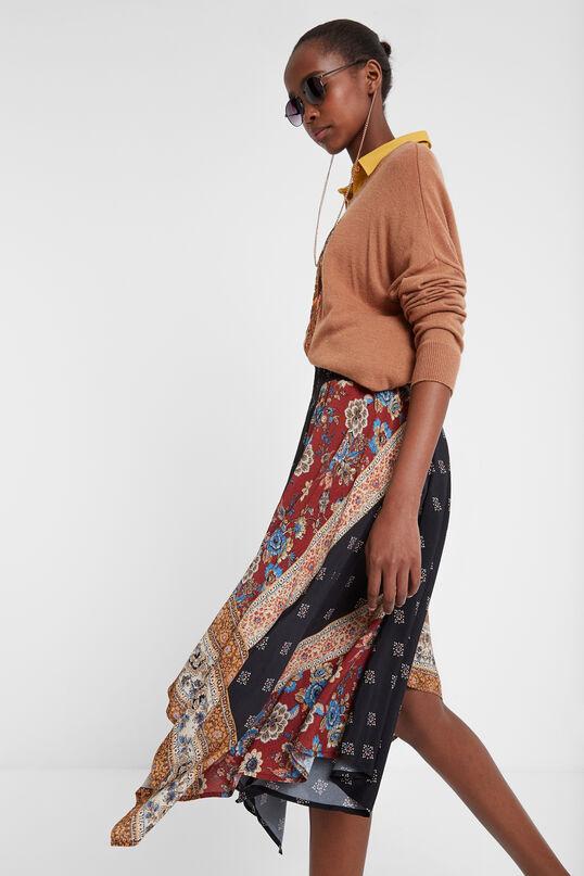 Asymmetric flared patch skirt | Desigual