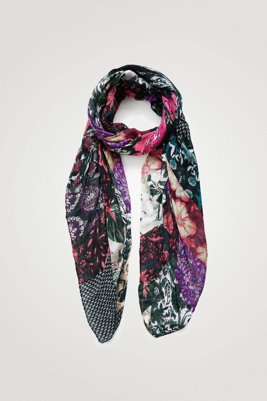 Foulard rectangulaire patchwork fleuri - BLACK - U