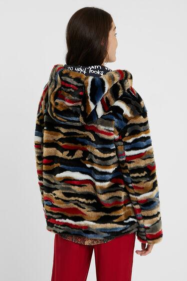 Veste courte fourrure multicolore | Desigual