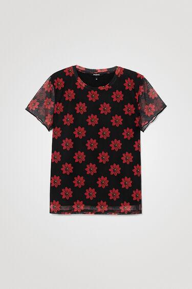 Viscose T-shirt met tulen mouwen   Desigual