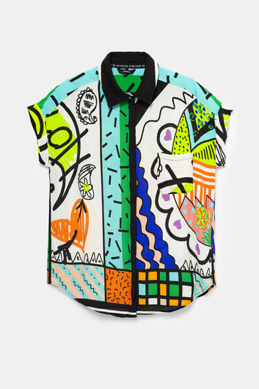 Arty shirt with Hindu illustrations | Desigual