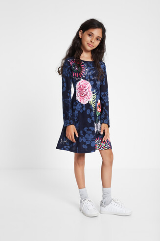 Ruffled flared floral dress