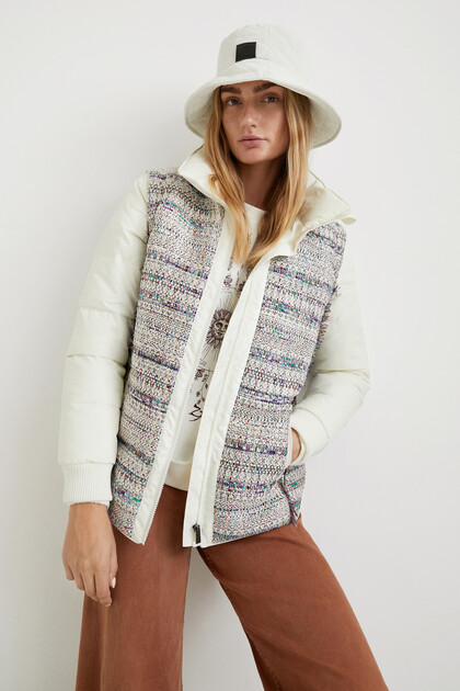 Short padded jacket bimaterial