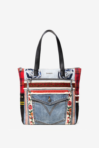Patches red and denim shopping bag