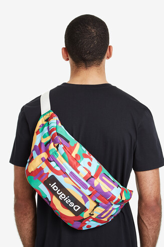 Multicolour camouflage maxi-bum bag