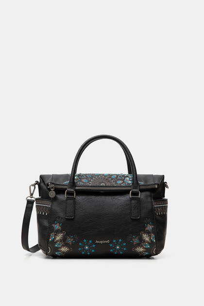 Synthetic leather embroidered handbag