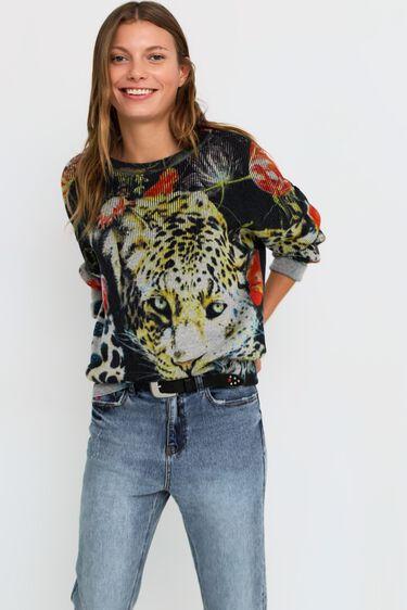 Knit jumper animal print flowers | Desigual