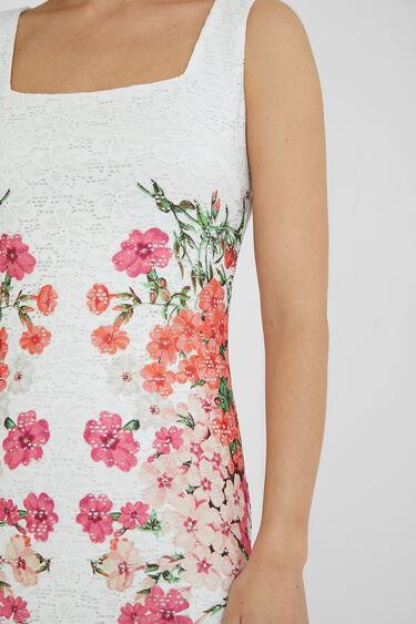 Vestit curt puntes i flors   Desigual