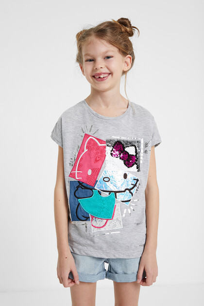 Hello Kitty patch T-shirt with reversible sequins
