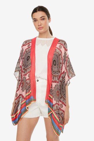 Kaftan Poncho with Mandalas Rainbow