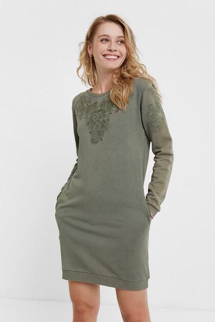 Embroidered sweatshirt dress