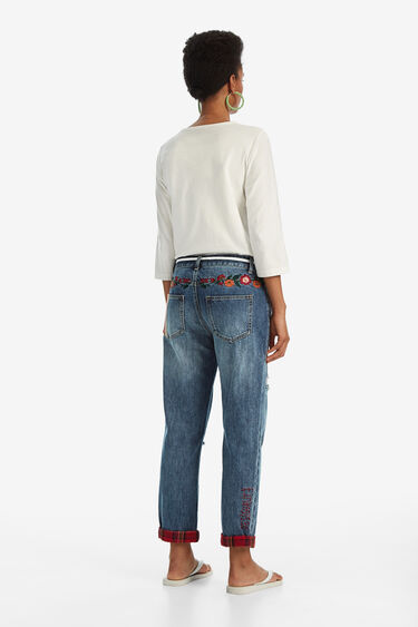 Denim jeans with check patches and floral embroidery | Desigual