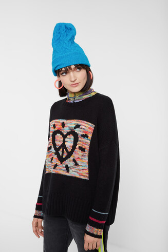 Pull tricot coeur