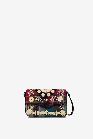 Tartan embroidered sling bag