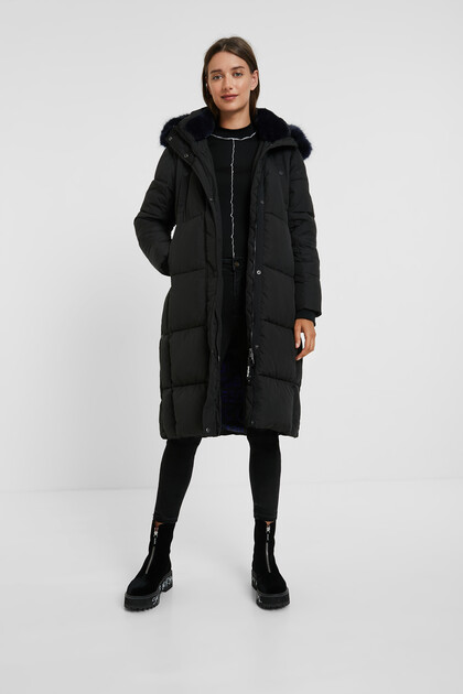 Long straight padded coat