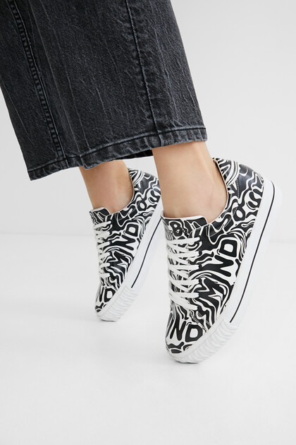Synthetic leather sneakers printed