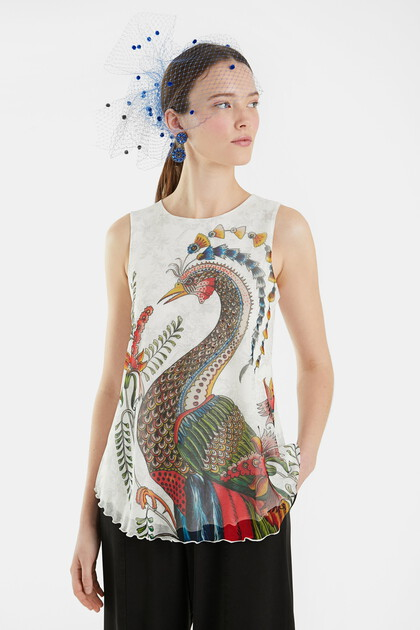Flounced T-shirt peacock