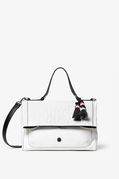 Square and white leather effect bag