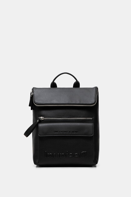 Synthetic leather backpack logo relief