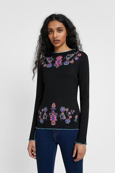フローラルブラックTシャツ | Desigual