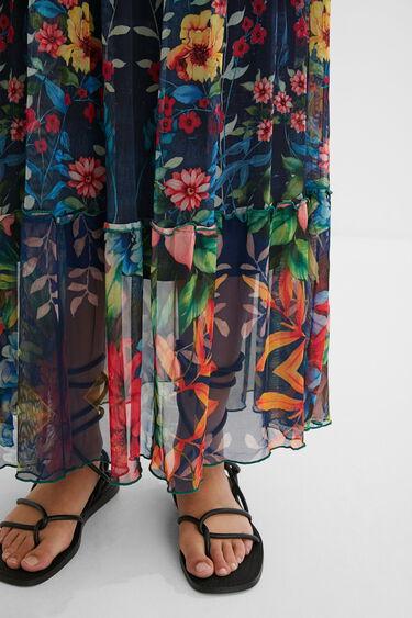 Vestido largo evasé patch floral | Desigual