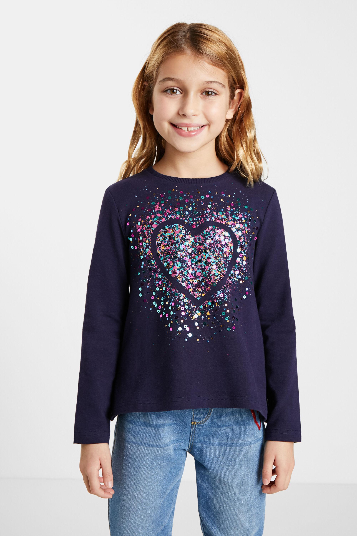 T-shirt heart sequins - BLUE - 3/4