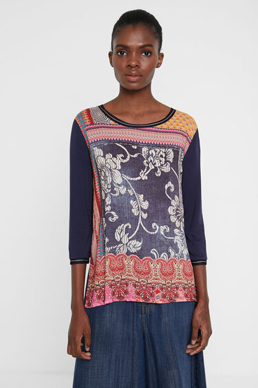 Ethnic blouse with friezes in patch | Desigual