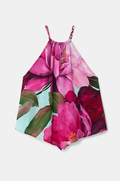 Tropical halter neck blouse