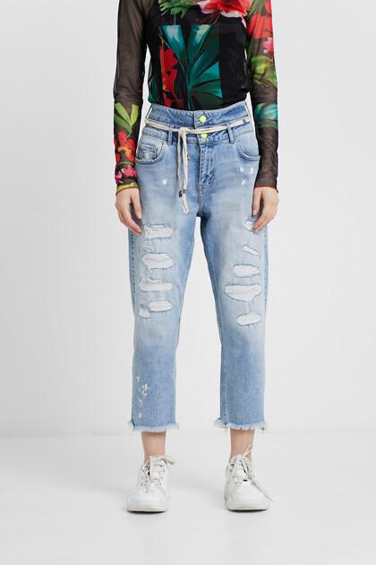 Pantalon en jean boyfriend double ceinture