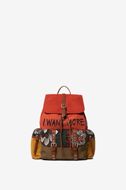 Floral backpack with lettering