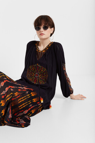 Ethnic blouse puffed sleeve