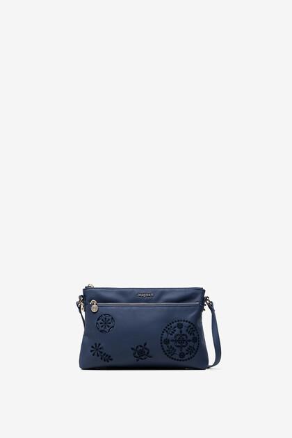 Embossed mandala sling bag