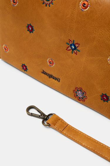 Bicolour sling bag with flap and mandalas | Desigual