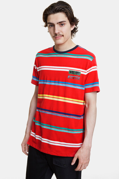 T-shirt pop jacquard stripes