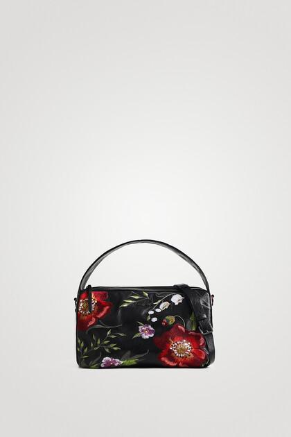 Bestickte Handtasche in Lederoptik