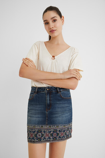 Embroidered denim mini-skirt