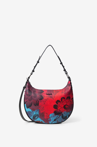 Crescent shoulder bag flowers