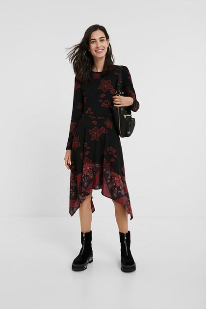 Boho-Shirt-Kleid im Slim Fit