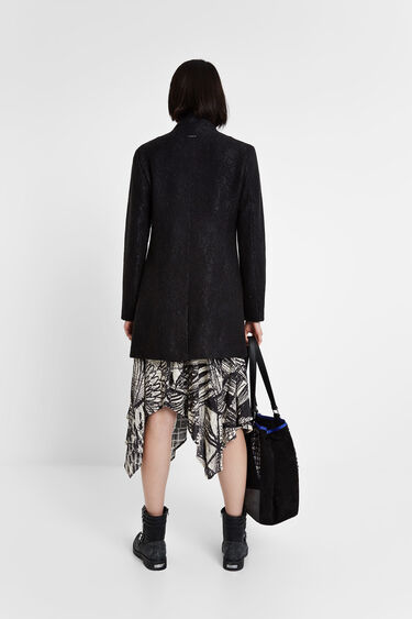Double-breasted funnel neck coat | Desigual