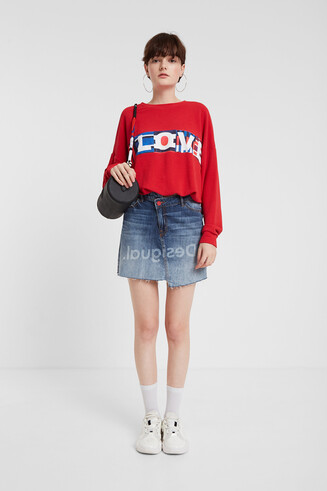 Asymmetric denim mini-skirt