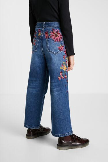 Pantalon en jean Wide leg brodé | Desigual