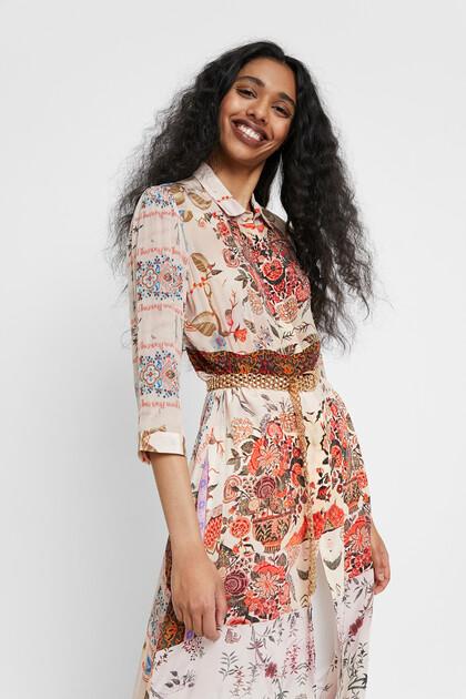 Vestido boho floral comprido
