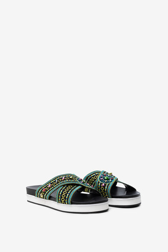 Platform sandals with ethnic beads