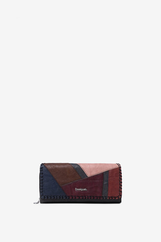 Rectangular coloured leather patch coin purse