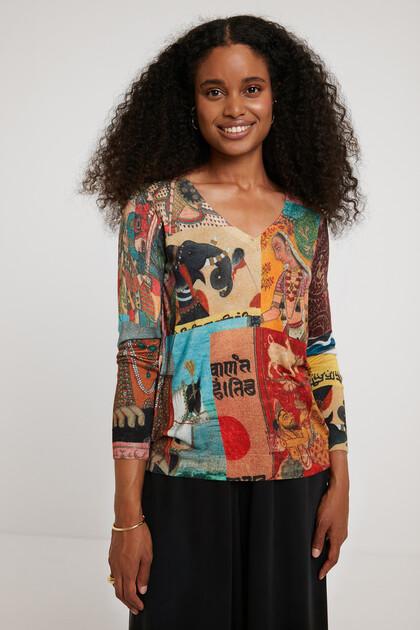 Dzianinowy sweter w stylu indyjskim