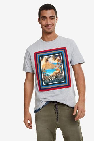 Denim waist Hawaiian T-shirt