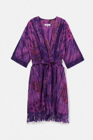 Long boho kimono with fringe