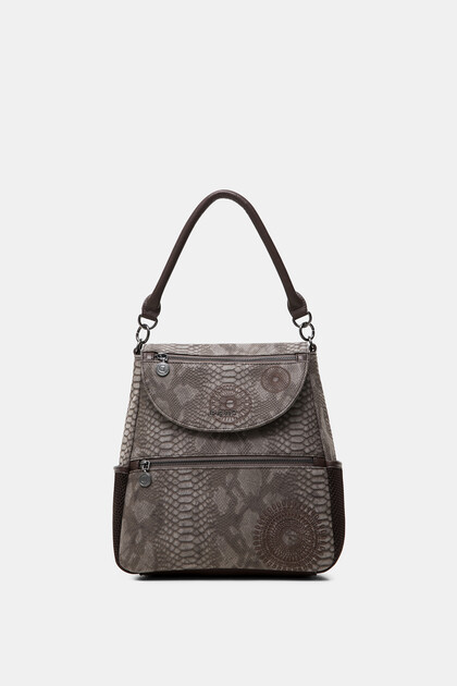 Medium embossed leather effect backpack