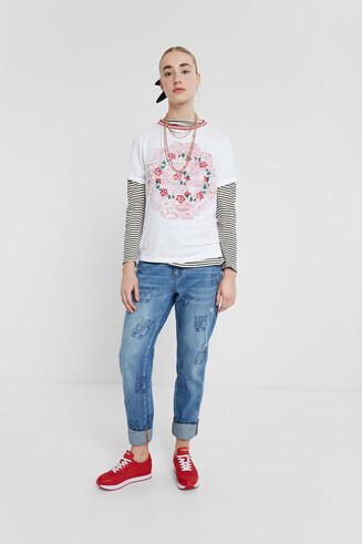 Turn-Up Sleeves T-shirt Mandala